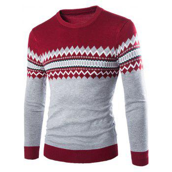 Geometric Pattern Crew Neck Color Block Knitwear - WINE RED WINE RED