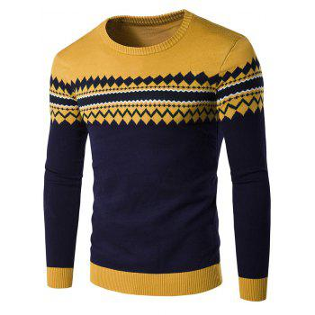 Geometric Pattern Crew Neck Color Block Knitwear