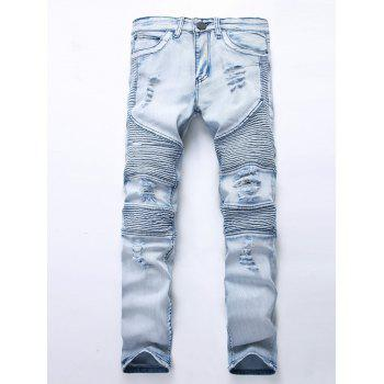 Zipper Fly Broken Hole Moto Jeans