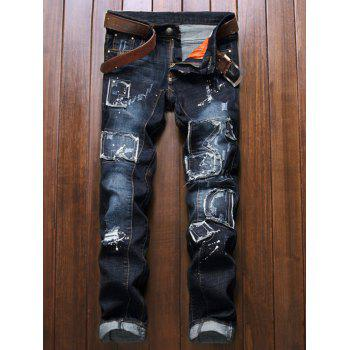 Patch Design Zip Fly Distressed Jeans - DEEP BLUE 32