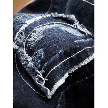 Patch Design Zip Fly Distressed Jeans - 32 32