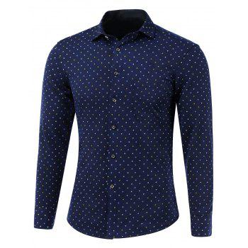 Geometric Pattern Pocket Turn-Down Collar Fleece Shirt