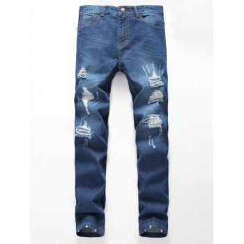 Distressed Zipper Fly Jeans