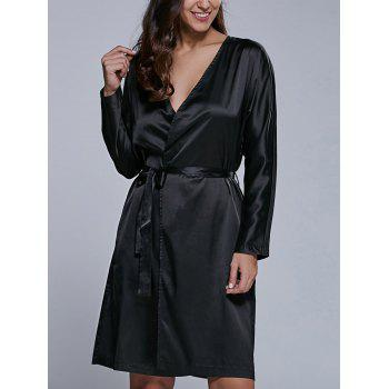 Long Sleeve Satin Wrap Dress With Pockets