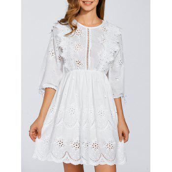 Round Neck Embroidered Eyelet Dress