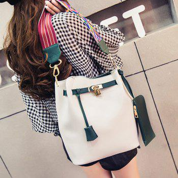 Lock Colorful Strap Color Block Bucket Bag