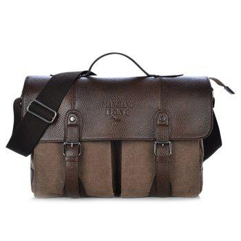 Snap Closure Double Buckle Canvas Messenger Bag