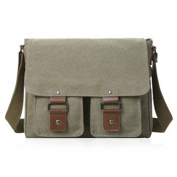 Canvas Magnetic Closure Double Pocket Messenger Bag