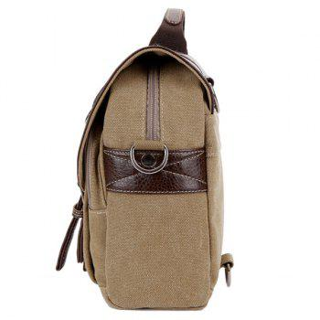PU Leather Double Buckle Snap Closure Messenger Bag -  KHAKI