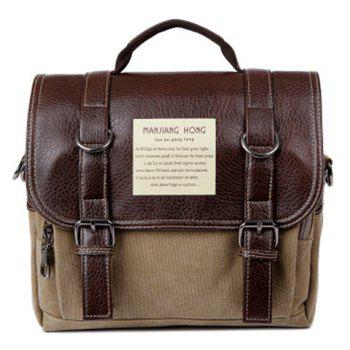PU Leather Double Buckle Snap Closure Messenger Bag - KHAKI KHAKI