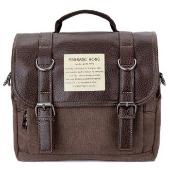 PU Leather Double Buckle Snap Closure Messenger Bag - COFFEE COFFEE