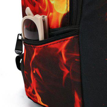 Canvas Color Splicing Flame Print Backpack -  BLACK