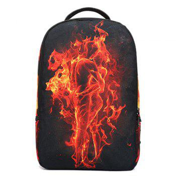 Canvas Color Splicing Flame Print Backpack - BLACK BLACK