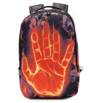 Color Splicing Zipper Hand Print Backpack - BLACK BLACK