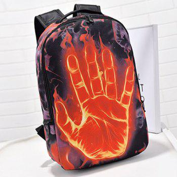 Color Splicing Zipper Hand Print Backpack -  BLACK