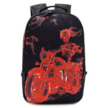 Colour Splicing Zipper Skeleton Print Backpack - RED WITH BLACK RED/BLACK