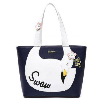 Swan Pattern Color Spliced Flowers Shoulder Bag