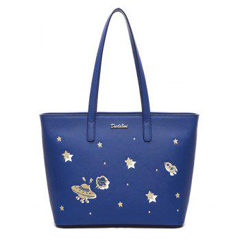 Embroidery PU Leather Star Pattern Shoulder Bag