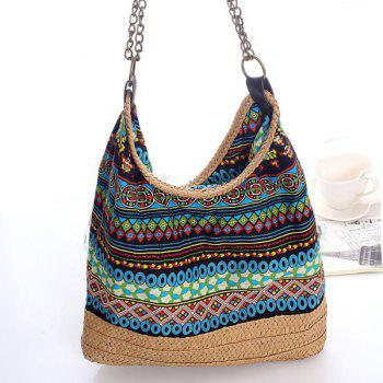 Bohemian Straw Printed Chains Shoudler Bag