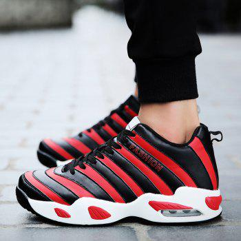 Striped Pattern Faux Leather Athletic Shoes