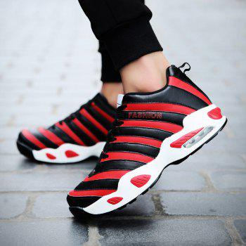 Striped Pattern Faux Leather Athletic Shoes - RED/BLACK 43