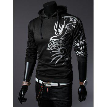 Drawstring Totem Printed Long Sleeves Hoodie - BLACK M