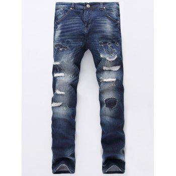 Zipper Fly Ripped Jeans - DENIM BLUE 28
