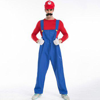 Buy Halloween Party Plumber Bib Pants Cospaly Costume Set RED