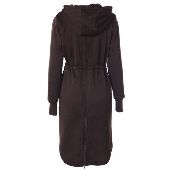Drawstring Back Zipped Hooded Coat - COFFEE XL