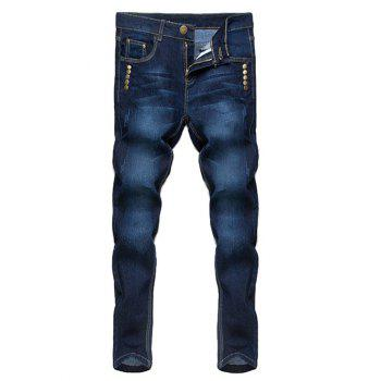 Zipper Fly Stud Embellished Narrow Feet Jeans