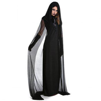 Halloween Cospaly Party Witch Cloak Hooded Costume Set - BLACK 2XL