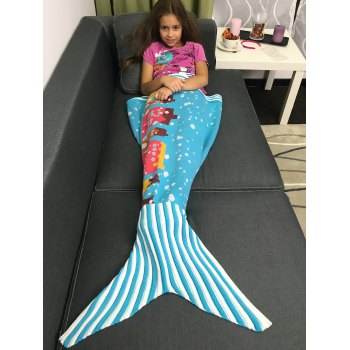 Warmth Knitting Cartoon Building Pattern Mermaid Blanket