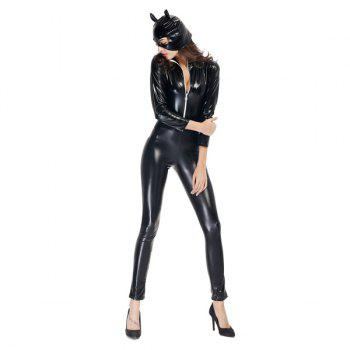 Cool Patent Leather with Kitten Neutral Locomotive Halloween Party Dress Suit - BLACK M