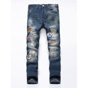 Zipper Fly Holes and Appliques Patch Design Straight Leg Jeans
