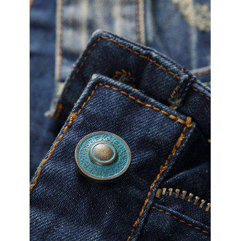 Zipper Fly Holes and Appliques Design Straight Leg Jeans - DENIM BLUE 33