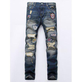 Zipper Fly Holes and Appliques Design Straight Leg Jeans