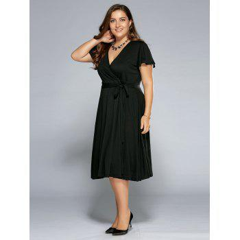 Low Cut A Line Plus Size Surplice Front Tie Swing Dress - BLACK 4XL