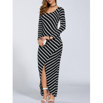 Petite Striped Long Sleeve Slit Casual Maxi Dress