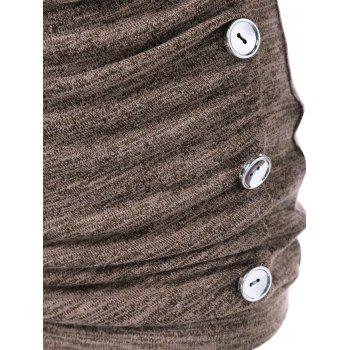 Side Button Cowl Neck Knitted Long Sleeve Sweater - LIGHT COFFEE M