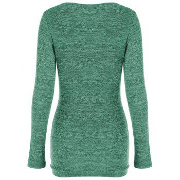 Side Button Cowl Neck Knitted Long Sleeve Sweater - JADE GREEN M