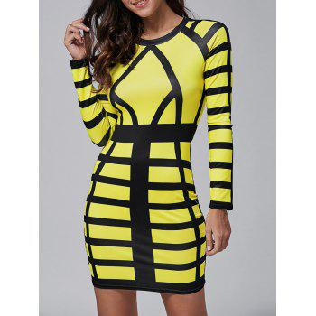 Long Sleeve Color Block Bodycon Mini Dress - YELLOW YELLOW