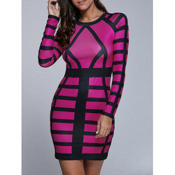 Long Sleeve Color Block Bodycon Mini Dress - ROSE RED S