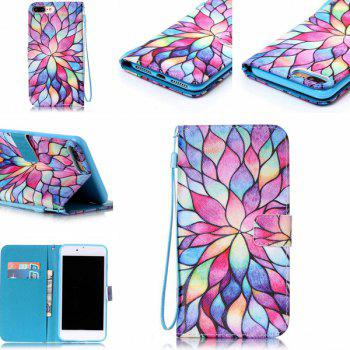 Artistic Lotus PU Wallet Card Phone Case For iPhone 7 Plus