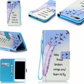 Feather Letter Pattern Wallet Phone Case For iPhone 7 Plus