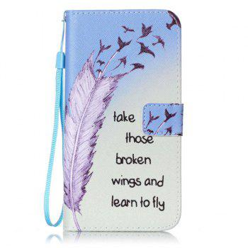 Feather Letter Pattern Wallet Phone Case For iPhone 7 Plus -  COLORMIX
