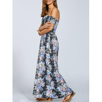 Off The Shoulder Vintage Floral Print Slit Dress