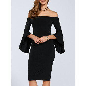 Autumn Flare Sleeve Off-The-Shoulder Dress - BLACK L