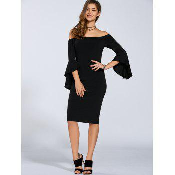 Autumn Flare Sleeve Off-The-Shoulder Dress - L L