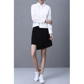 Asymmetric Hem Back Tied Shirt - WHITE L
