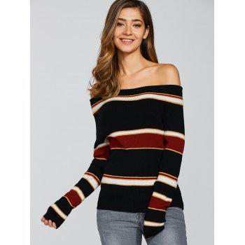 À rayures Off The Shoulder Jumper - multicolorcolore L